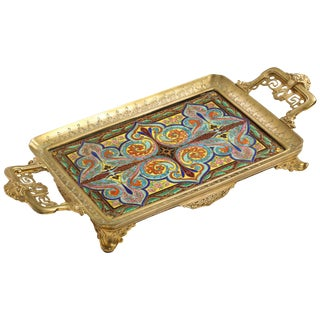 """French """"Japonisme"""" Bronze and Hand Painted Porcelain Tray Platter For Sale"""
