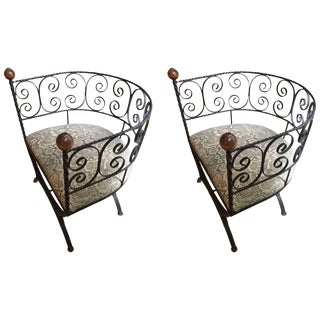 Delightful Pair of Elegant Iron Barrel Shaped Chairs For Sale