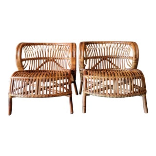 Vintage Bamboo and Rattan Lounge Chairs in the Style of Viggo Boesen