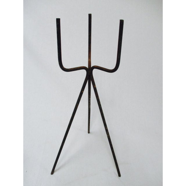 Mid-Century Modern Gainey Blue Pot & Iron Tripod Stand - Image 6 of 11
