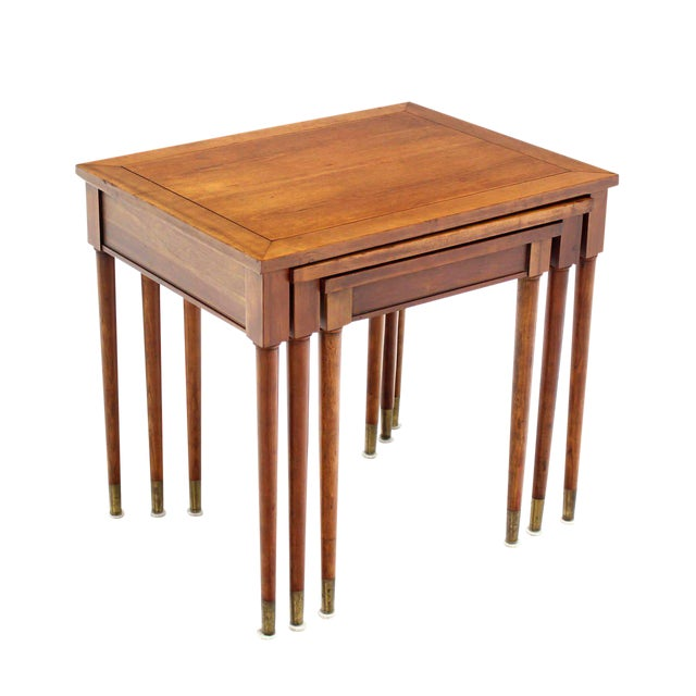 Set of Three Mid-Century Modern Walnut Nesting Tables For Sale
