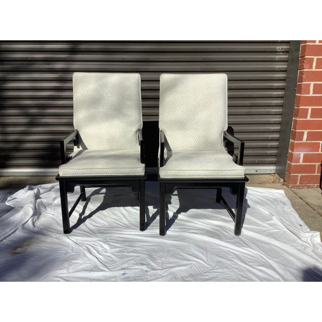 Black 1970s Greek Key Arm Chairs by Century, a Pair For Sale - Image 8 of 12