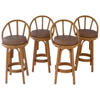 Set of Four Bent Bamboo Bar Stools For Sale