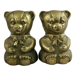 Vintage Mid-Century Traditional Style Brass Teddy Bear Bookends - a Pair For Sale