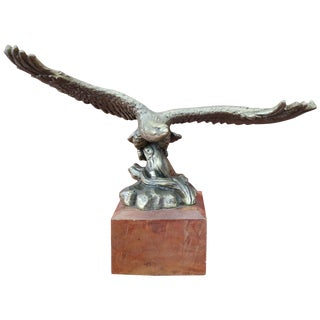 20th Century Italian Eagle in Bronze on a Wood Base, 1940s For Sale