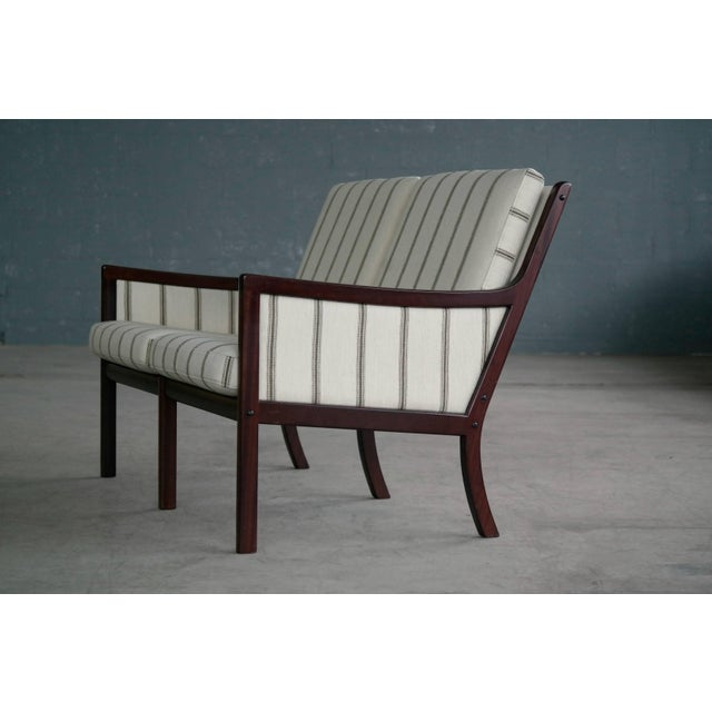 Danish Modern Danish Midcentury Mahogany Settee or Loveseat by Ole Wanscher for Poul Jeppesen For Sale - Image 3 of 10