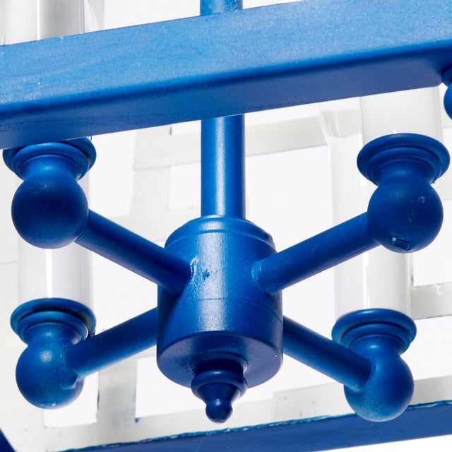 Metal Hand Painted Chinese Fretwork Pendant Chandelier in Royal Blue For Sale - Image 7 of 9
