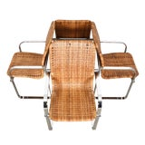 Image of Set of 4 Milo Baughman Chrome & Rattan Chairs For Sale