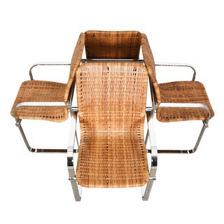Set of 4 Milo Baughman Chrome & Rattan Chairs For Sale
