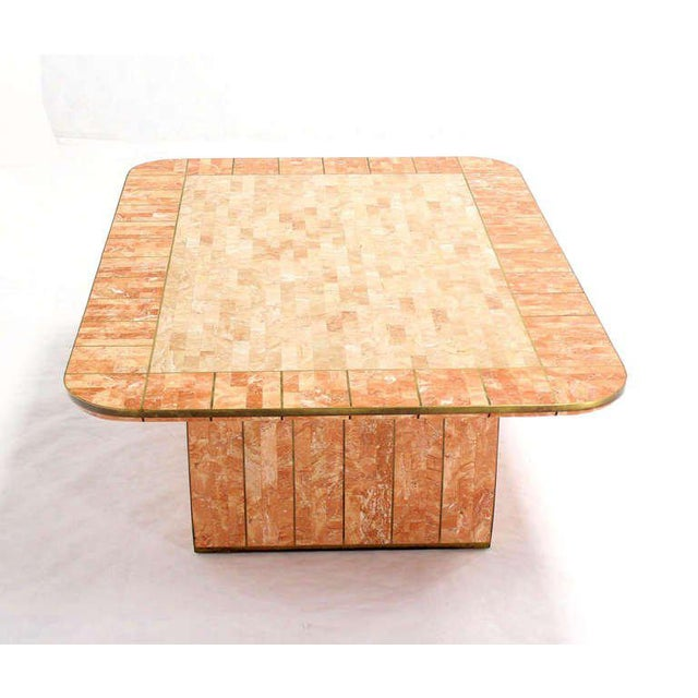 Maitland Smith Tessellated Stone Brass Mid Century Modern Rectangle Coffee Table For Sale - Image 9 of 10