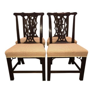 Authentic Hand Carved Chinese Chippendale Dining Chairs-Set of 4 For Sale