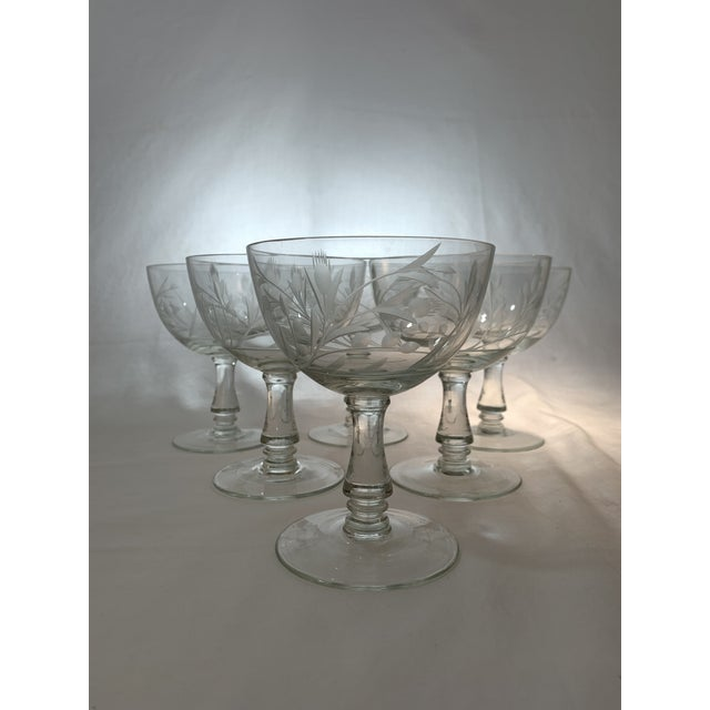 1960s Vintage 1960s Crystal Goblets With Etched Thistle Pattern - Set of 6 For Sale - Image 5 of 5