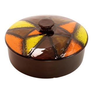 Rosenthal Netter Mid-Century Orange Brown Yellow Pottery Covered Dish For Sale