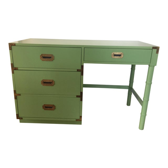 Dixie Campaign Faux Bamboo Desk - Image 1 of 4
