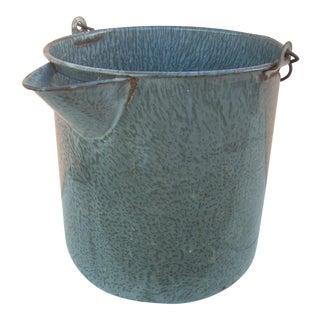 Vintage Gray Graniteware Water Bucket