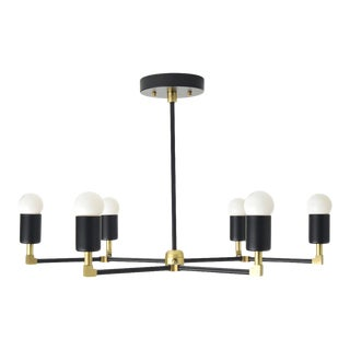"""Budapest Chandelier, Matte Black & Brass with 36"""" Rod For Sale"""