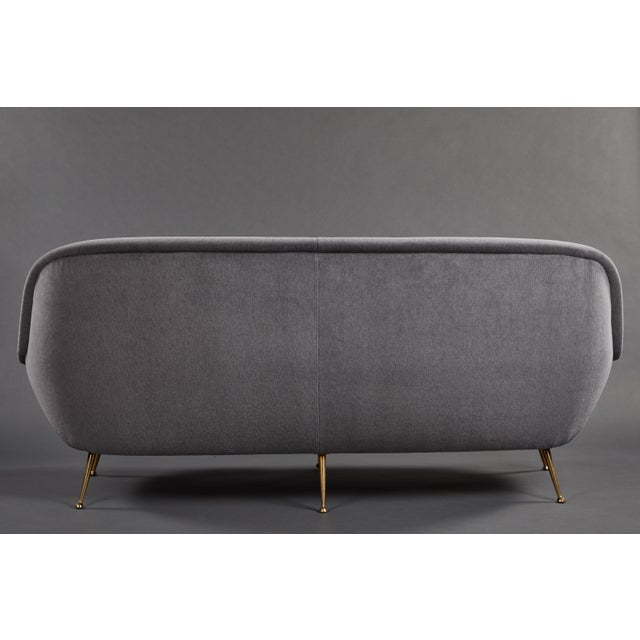 1950s An Elegant Italian Suite of a Petite Sofa and Two Armchairs With Matching Ottomans For Sale - Image 5 of 13