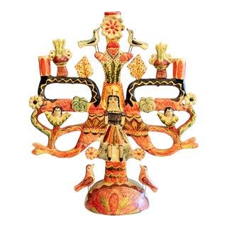 Vintage Mexican Tree of Life Pottery Aurelio Flores Candelabra Sculpture For Sale