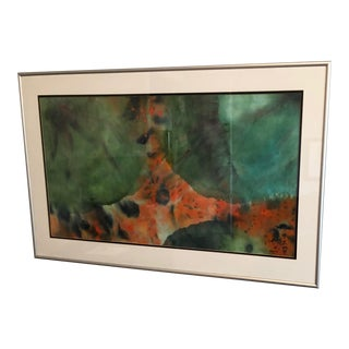 1980s Signed Watercolor Framed Painting For Sale