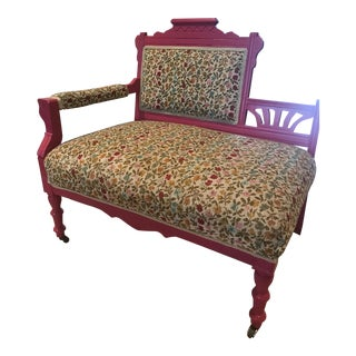 Antique Original Love Seat With Sand Blasted Lacquered Finish For Sale