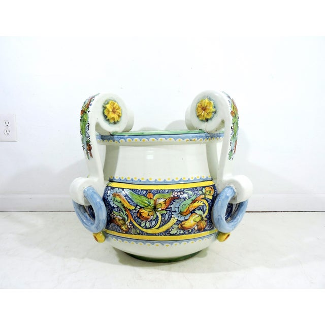 Large Italian Caltagirone Ceramic Jardiniere or Planter For Sale - Image 4 of 10