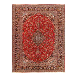 Red Semi Antique Persian Hand Knotted Kashan 10'2'' X 13'2'' For Sale
