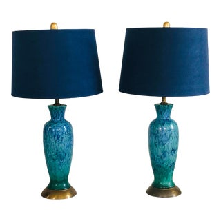 Mid-Century Modern Blue Splatter Glaze Ceramic Lamps With Shades - a Pair For Sale