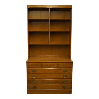 "Late 20th Century Ethan Allen Heirloom Nutmeg Maple Crp 40"" Chest with Bookcase Top For Sale"