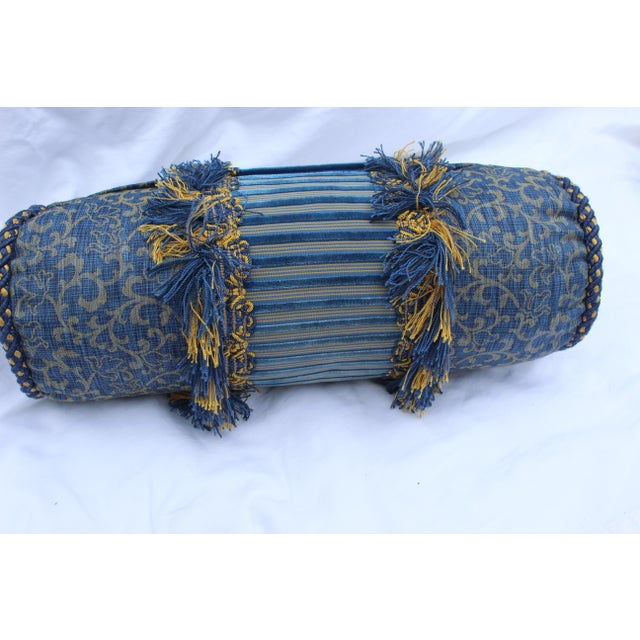 Contemporary Small Small Silk and Velvet Bolster Pillow in Blue and Gold For Sale - Image 10 of 13