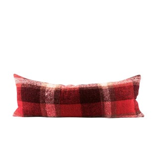 """Red Plaid Mohair Wool Lumbar Pillow 13"""" x 34"""" For Sale"""