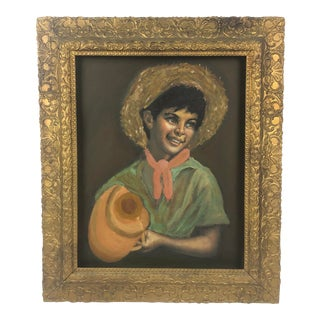 Vintage Oil Painting of Smiling Boy in Giltwood Frame For Sale
