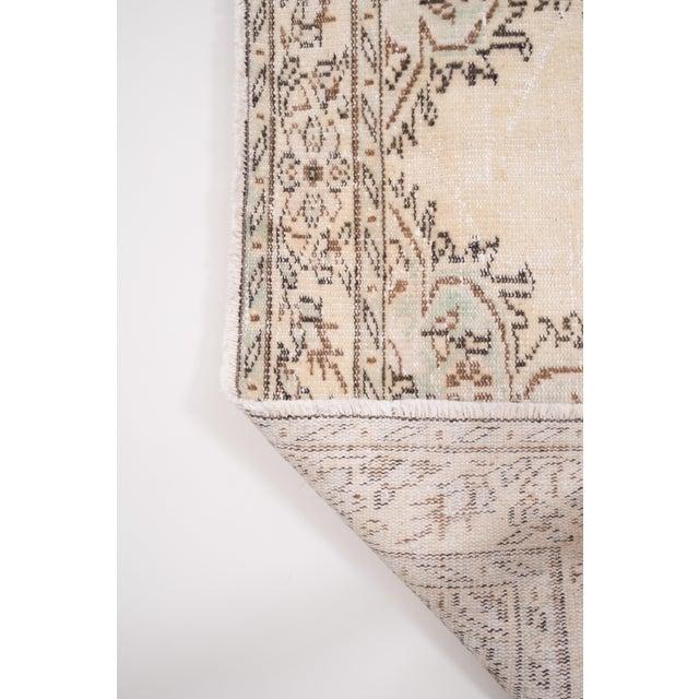 "Vintage Anatolian Oushak Kars Handwoven Distressed Ushak Area Rug 5'12"" X 9'8"" For Sale - Image 10 of 11"