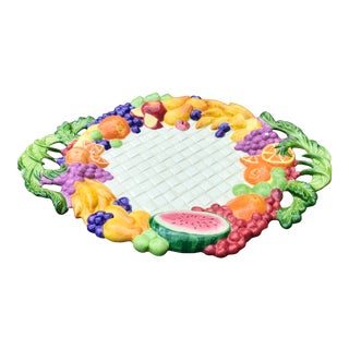 """Vintage Vintage Fitz and Floyd Classics Discontinued """"Carioca"""" Fruit Design Serving Platter or Tray For Sale"""