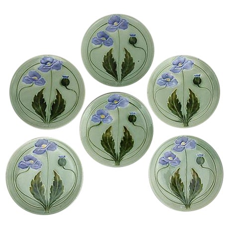 Majolica Green Flower Plates - Set of 6 - Image 1 of 3