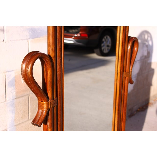 Mid Century Bent Rattan Cheval Mirror - Image 5 of 11