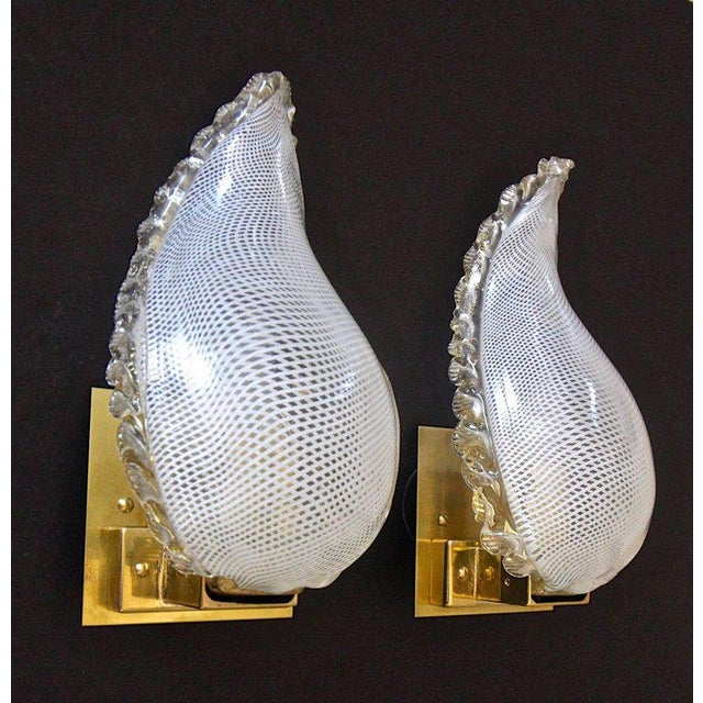 Mid-Century Modern 1940s Mid-Century Modern Murano Latticino Leaf Form Wall Sconce Lights - a Pair For Sale - Image 3 of 13