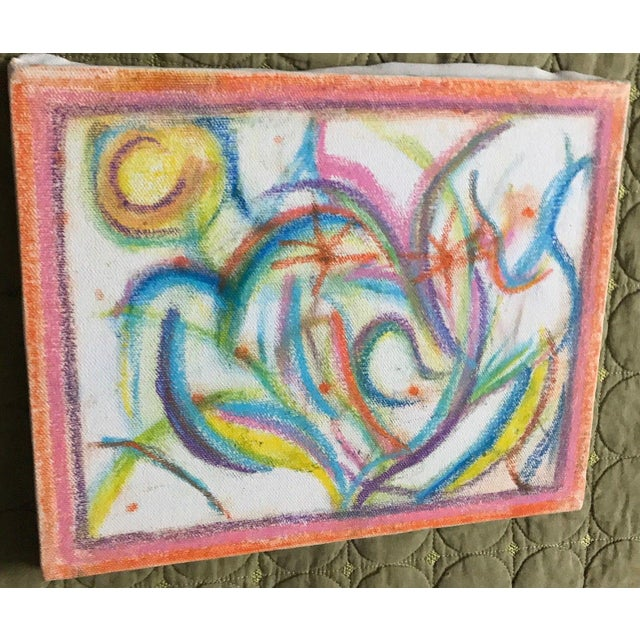 Abstract Vintage 1970s Colorful Abstract Drawing For Sale - Image 3 of 6