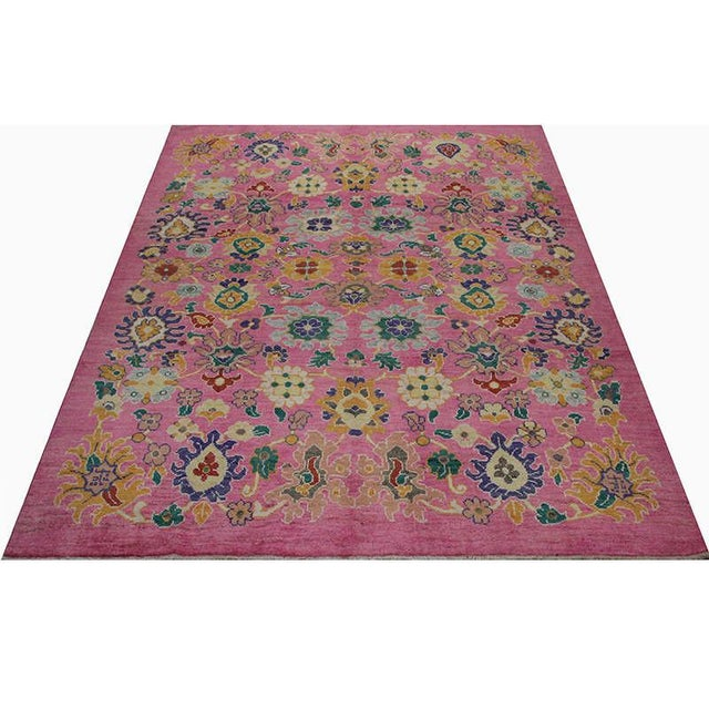 Perfect for your cowgirl castle, this traditional handwoven Turkish Oushak Area Rug recreation features a vibrantly...