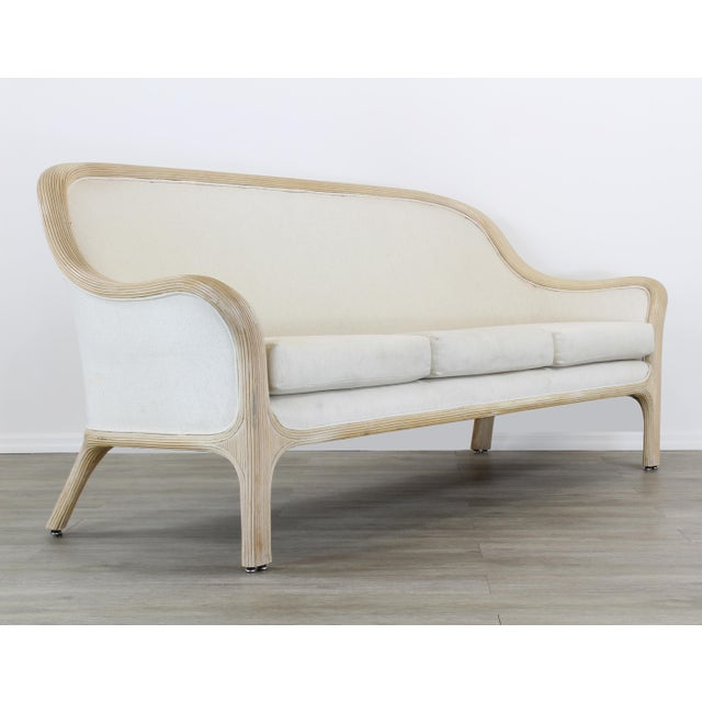 Vintage Cream Reeded Bamboo Sofa, Patio Sofa For Sale In Miami - Image 6 of 6