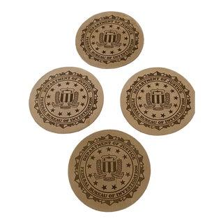 Fbi Vintage Leather Drink Coasters - Set of 4 For Sale
