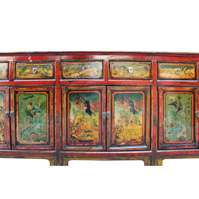 Chinese Distressed Red Graphic Long Sideboard Console Table Cabinet