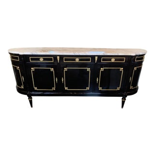 French Maison Jansen Black Lacquered Server with Cararra Marble Top For Sale