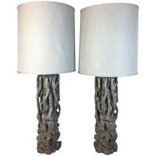 James Mont Monumental Carved Tree Trunk Lamps For Sale