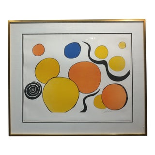 Mid Century Modern Lithograph-Flying colored Polka Dots-Pencil Signed