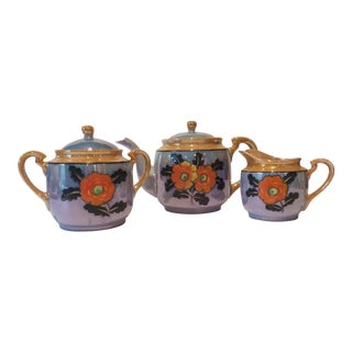 1920s Antique Japanese Hand-Painted Lusterware Tea Set - 3 Pieces For Sale