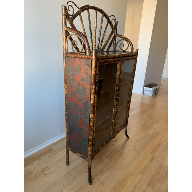 Art Nouveau Antique Burnt Bamboo Etagere With Glass Front For Sale - Image 3 of 10