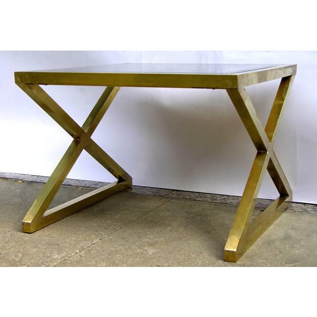 Hollywood Regency Italian Modern X-Frame Handcrafted Bronze and Black Low Coffee Tables - a Pair For Sale - Image 3 of 11