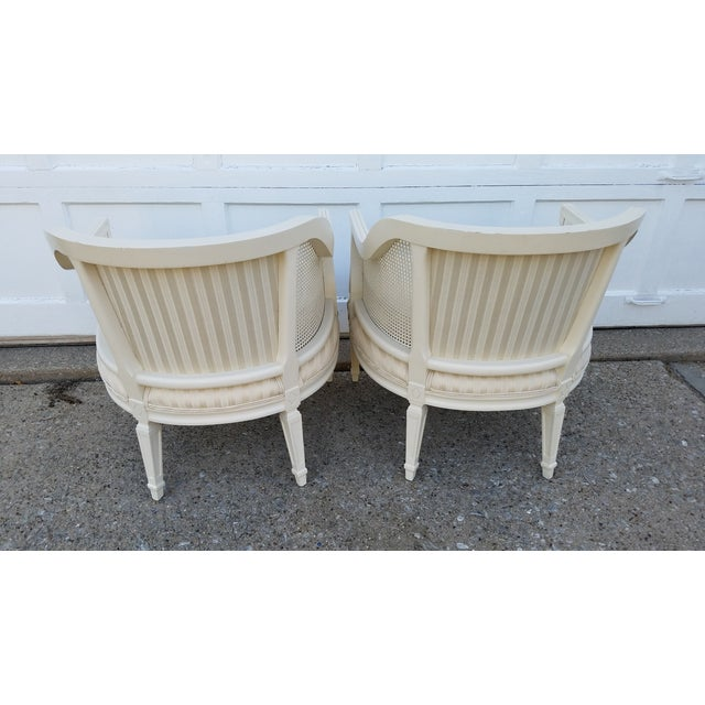Off-White Cane Back Barrel Chairs - A Pair - Image 6 of 7