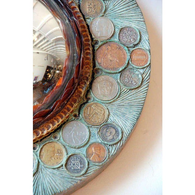Resin Small Decorative Convex Mirror in the Style of Line Vautrin For Sale - Image 7 of 8