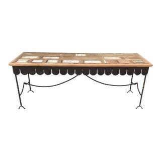 Folk Art Arte De Mexico Console Table With Custom Iron Base For Sale